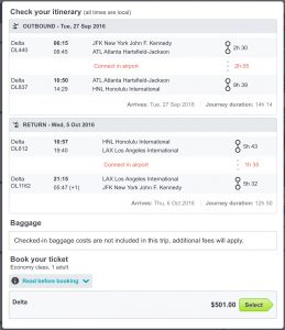 Honolulu Fare on SkyScanner
