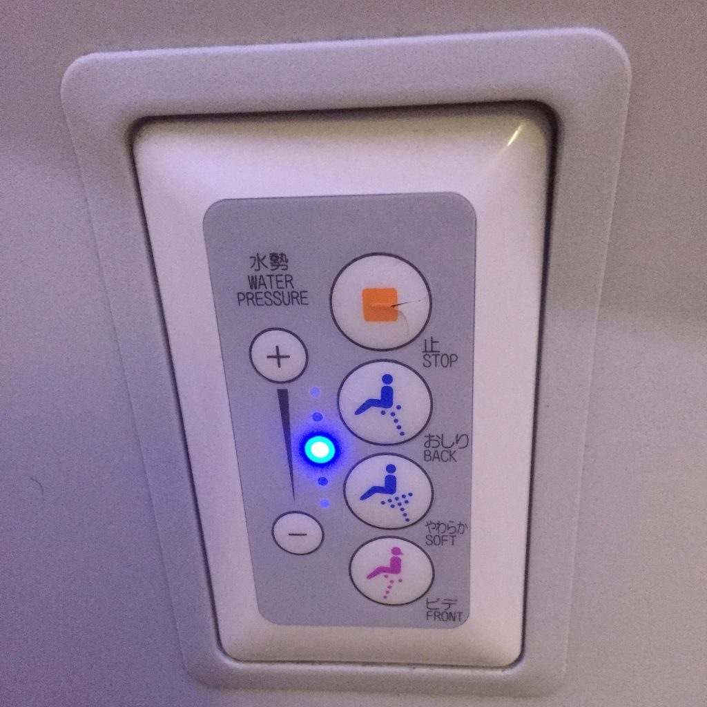 Toilet controls on an ANA 787-8